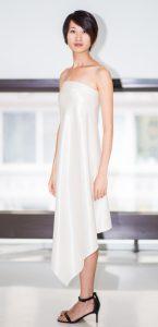 Strapless bias silk/cotton dress
